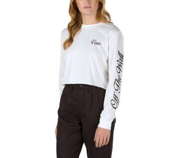 Brush Off White Long Sleeve Crop