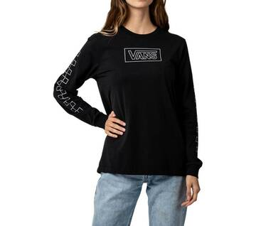 AFTER DARK LONG SLEEVE BOYFRIEND TEE BLACK