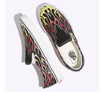Slip On Mash Up Black Flames