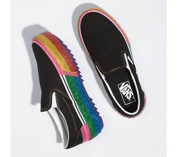 GLITTER CLASSIC SLIP-ON STACKED BLACK/RAINBOW
