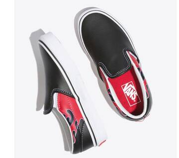 Kids Slip On Moto Flame Black/Racing Red