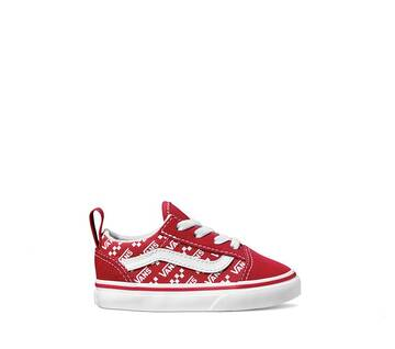 OLD SKOOL ELASTIC LACE LOGO RED